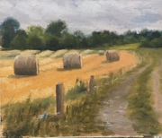 """Bales at Rathnally, Trim. Oil on canvas board 12""""x10"""""""