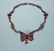 Needlelace butterfly necklace