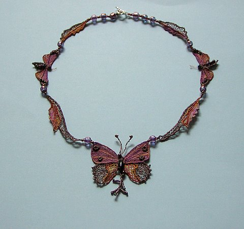Needlelace butterfly necklace