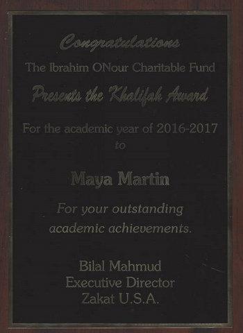 Khalifah Award 2017 Sister Maya Martin