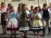 Kids decked out in traditional costumes for the wine festival