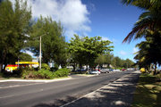 Avarua main street off peak hour traffic
