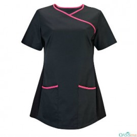 Super Black with Piping Scrub Frock Manufacturer