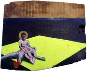 b Last of the Seducer 2010 Oil and flourescent paint on elmwood. 20x30cm