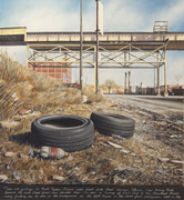 Tires and Garbage near the Green Line El, West Side of Chicago