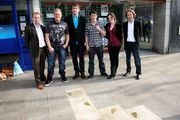 """Bedwyr Williams """"Lionheart and Lightsout"""" artist pictured with Locws International team and Lionheart and Lightsout."""