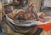 nude with orange fabric