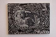 Ogar Grafe: Polispiritistische Dekorationen (Urknallmutterkornmutter): Untitled 1 2000, hand stitched cotton, plastic skull, about 16 x 16 x 22 cm Ogar Grafe: Polispiritistische Dekorationen (Urknallm