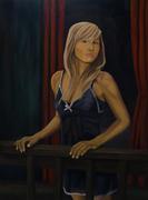 Portrait of woman on balcony