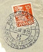 Postkontoret KBHVN's FRIHAVN gjennomhullet E.J.F.