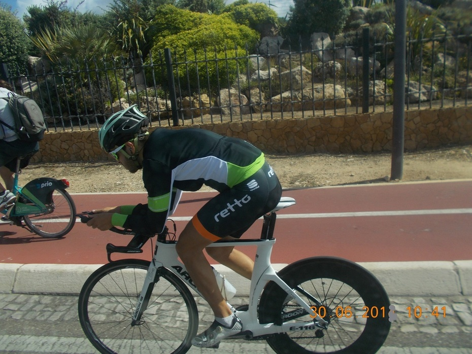 A Cyclist in Lisbon.