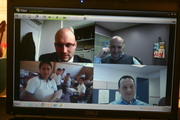Trying our new videoconferencing system with Guatemala, Russia, Uganda and the US