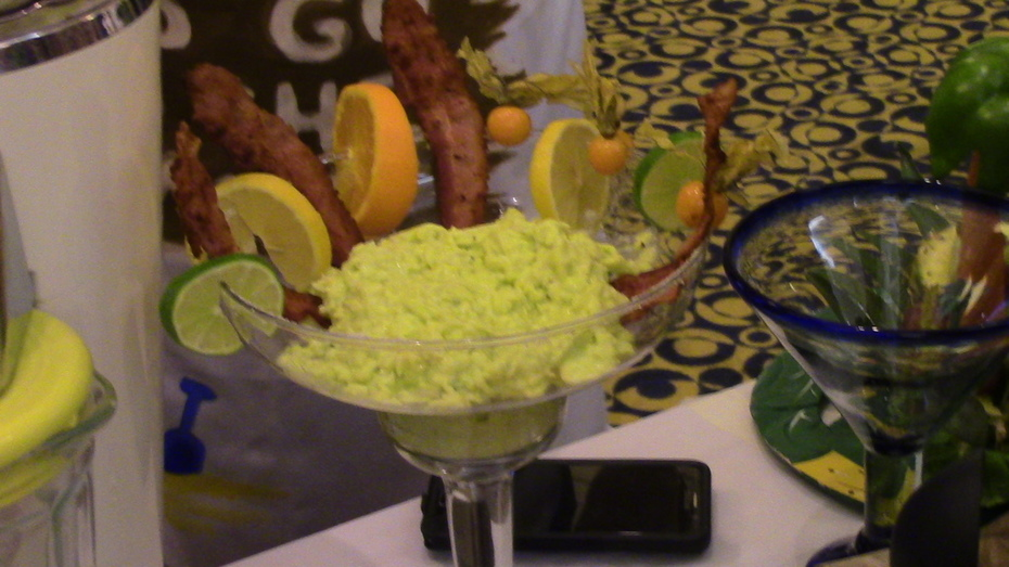 """Eggorita""  (ie green eggs in a margarita glass)"