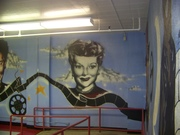 lucille ball mural inside the cafeteria