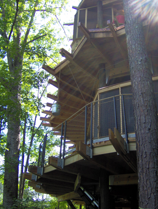 Wheelchair accessible treehouse at Camp Twin Lakes