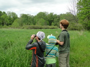 birding at my farm--class field trip.  young ornithologist leading
