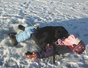 Ice fishergirl with snuggling puppy