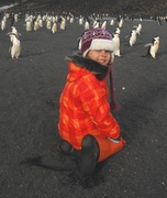 Happy girl with penguins