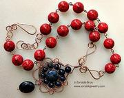 Lapiz and Sponge Coral Pendant Necklace