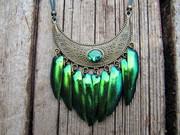 Brass Beetle Wings Pendant
