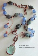 Blue obsidian, blue jade and aquamarine necklace/earring set.