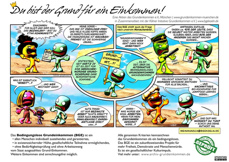 Comic-Flyer für Grundeinkommen-München