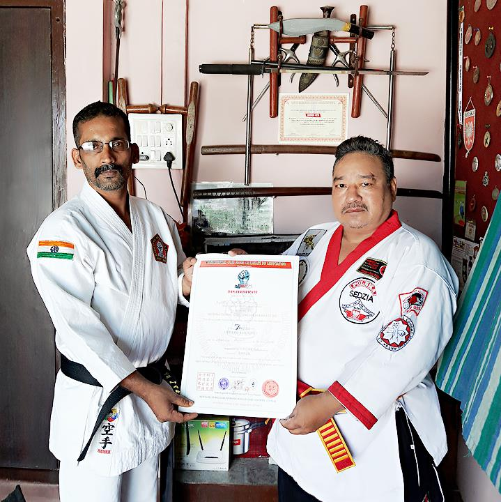 Kyoshi VRS Kumar received 7th Dan from Intl. Goju Singh Kai Karate Do Association - India