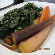 Rainbow carrots and kale