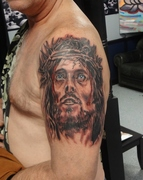 jesus, religeous, tattoo, by kevin gordon, monroe nc