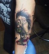 tim burtons frankenweenie tattoo Kevin Gordon, tattoos, Inkaholics, wingate N.C. 28174, 704-233-9383, inkaholicsnc.com kmgsucks@yahoo.com, union county