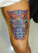 colorfull girly owl tattoo by kevin gordon