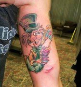 the mad hatter alice in wanderland tatto Kevin Gordon, tattoos, Inkaholics, wingate N.C. 28174, 704-233-9383, inkaholicsnc.com kmgsucks@yahoo.com, union county