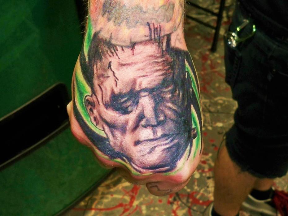 frankenstein portrait hand tattoo Kevin Gordon, tattoos, Inkaholics, wingate N.C. 28174, 704-233-9383, inkaholicsnc.com kmgsucks@yahoo.com, union county