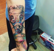 gas mask painting tattoo Kevin Gordon, tattoos, Inkaholics, wingate N.C. 28174, 704-233-9383, inkaholicsnc.com kmgsucks@yahoo.com, union county