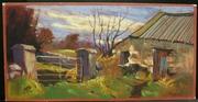 The Milking Parlour. Pastel. 8x16