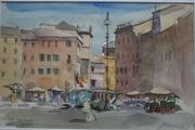 Piazza Navona, Roma. Watercolour. 7x10