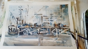 Amanda Brett watercolour artist, Auckland Viaduct, en plein air small 130118