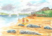Watercolour. Duncannon Beach with Fort