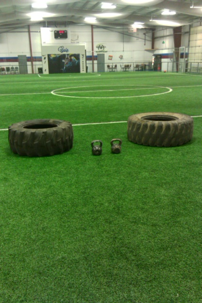 Kettlebells, tractor tires and a whole field.