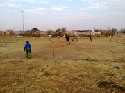 Kids making their own Soccer Ground