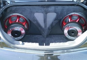 Precision Power 2 subs in trunk at Freezefest