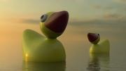 Giant ducks in sunset