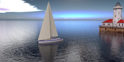 sailboat and lighthouse ground plane