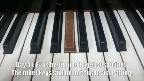 [Kit Kat chocolate bar hiding among the black keys of a piano] Day 41: F# is starting to get suspicious. The other keys still do not suspect anything.