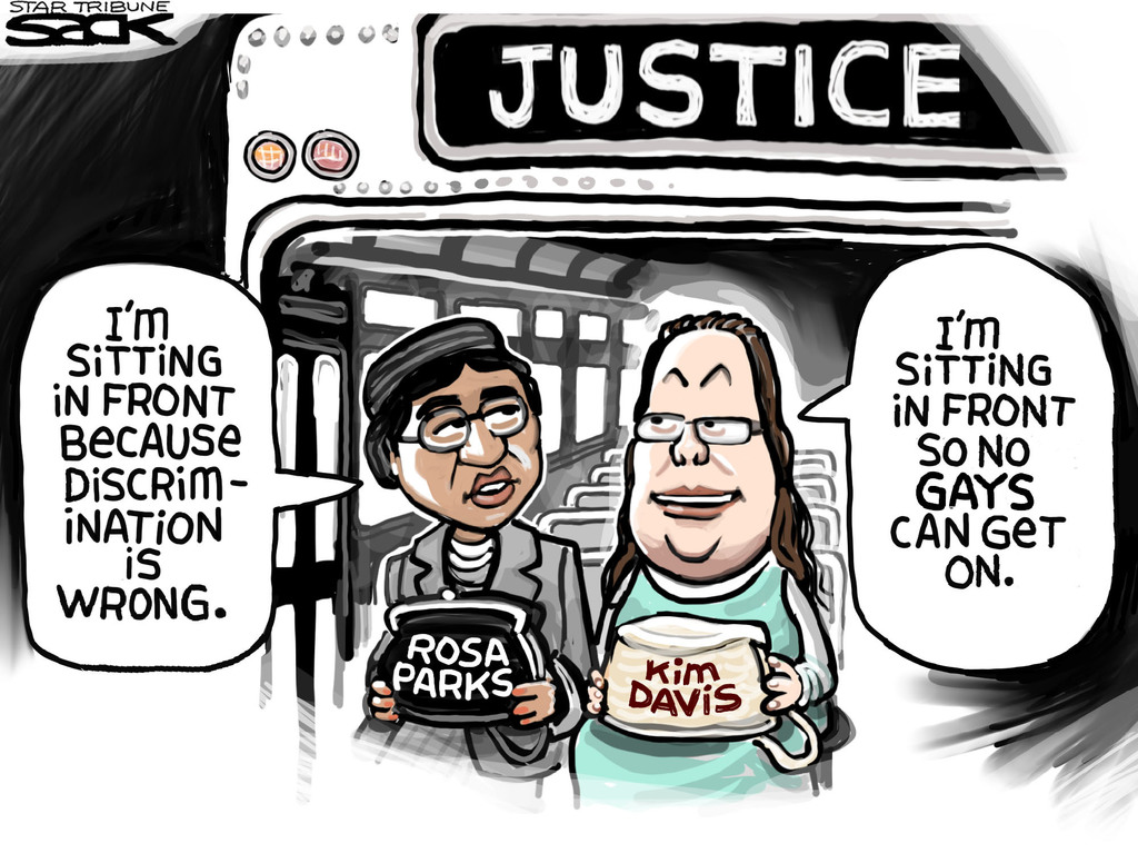 """(On the bus headed to JUSTICE) Rosa Parks: """"I'm sitting in front because discrimination is wrong."""" Kim Davis: """"I'm sitting in front so no GAYS can get on."""""""