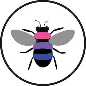 (A bee, with pink, purple, and blue -- bi pride colors -- replacing its yellow stripes)