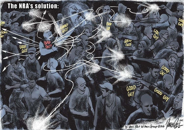 The NRA's Solution (dark crowded room with a 'Bad Guy', identified with glowing lettering, with a gun, and about a dozen similarly labeled 'Good Guys' whose bullets magically dodge and weave around bystanders and other Good Guys to arrive at the Bad Guy)