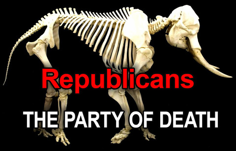 Republicans - the party of death [with elephant skeleton]