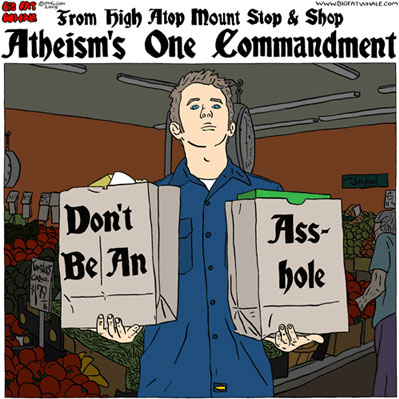 """From High Atop Mount Stop & Shop, Atheism's One Commandment: (man in blue work shirt standing in a supermarket's produce section, holding two paper shopping bags [recalling Moses's two tablets] emblazoned """"Don't Be An Asshole"""")"""