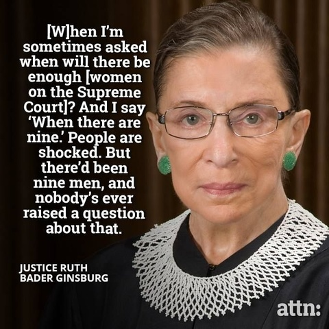 [W]hen I'm sometimes asked when will there be enough [women on the Supreme Court]? And I say 'When there are nine.' People are shocked. But there'd been nine men, and nobody's ever raised a question about that. --Justice Ruth Bader Ginsburg